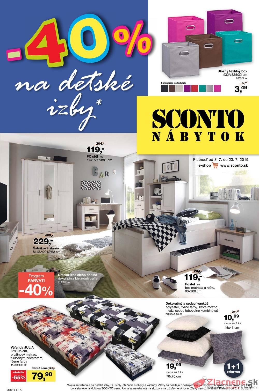 Leták Sconto nábytok - Sconto nábytok od 3.7. do 23.7.2019 - strana 1