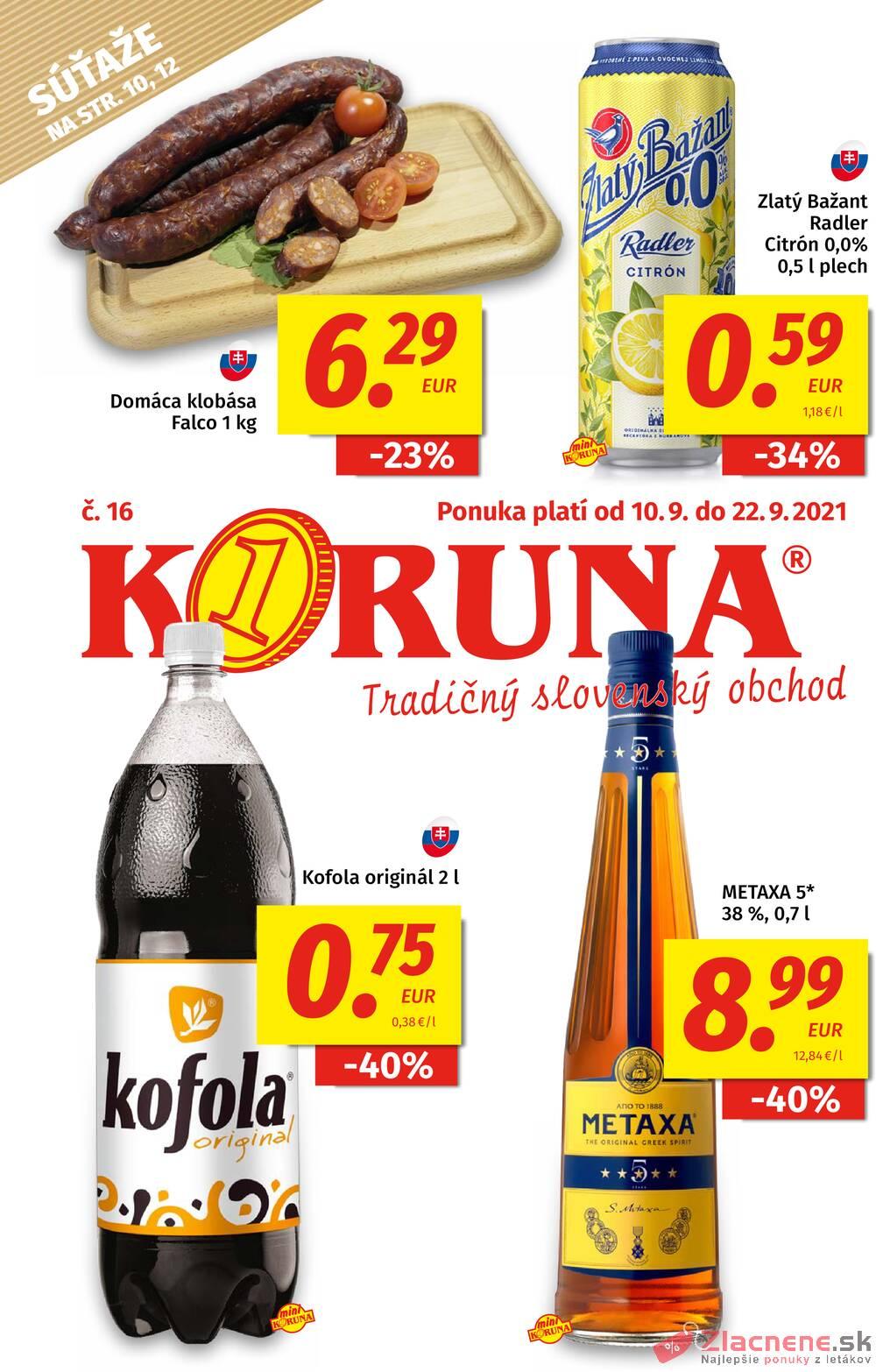Leták KORUNA - Potraviny KORUNA od 9.9. do 22.9.2021 - strana 1